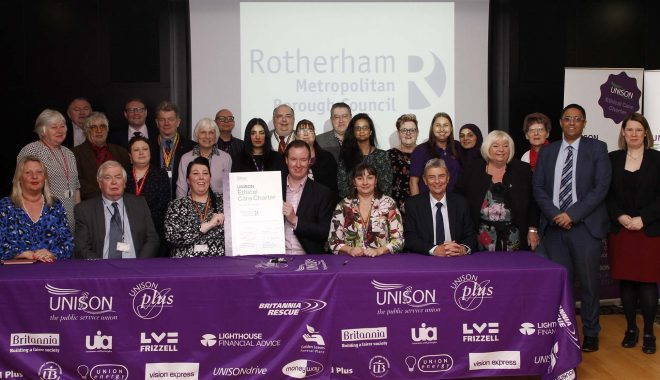 Signing of Unison's Ethical Care Charter Rotherham, 19th February 2020 (Photo: Pete Jenkins)