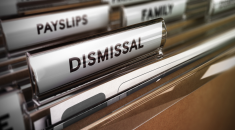 Filing cabinet with 'dismissal' file